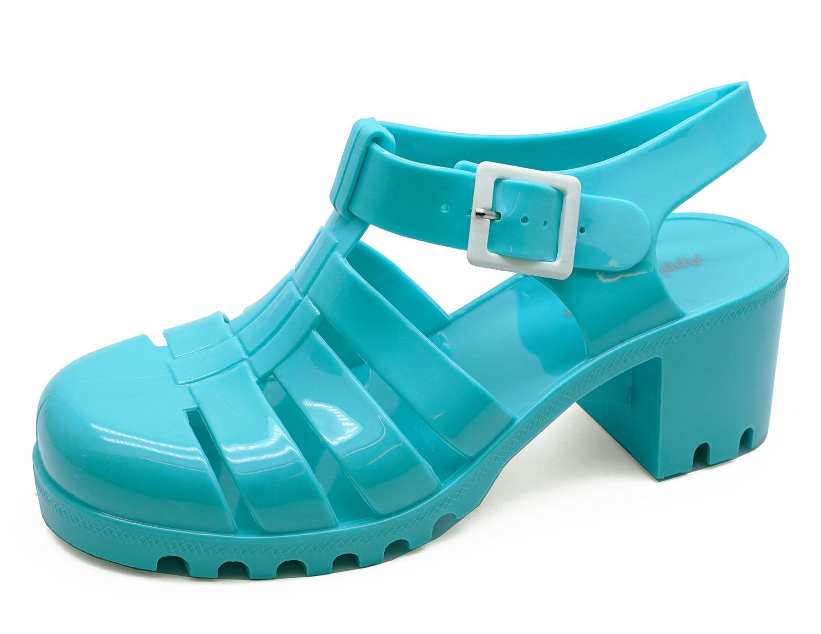Damas Azul Jalea Sandalias Gladiador Retro Festival Vacaciones En La Playa Zapatos UK 3-8