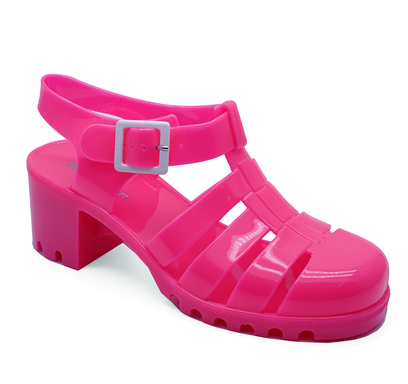 c0044b7a5cf Details about WOMENS PINK CHUNKY HEEL PLATFORM JELLY HOLIDAY SANDALS PUMPS  SHOES SIZES 3-8