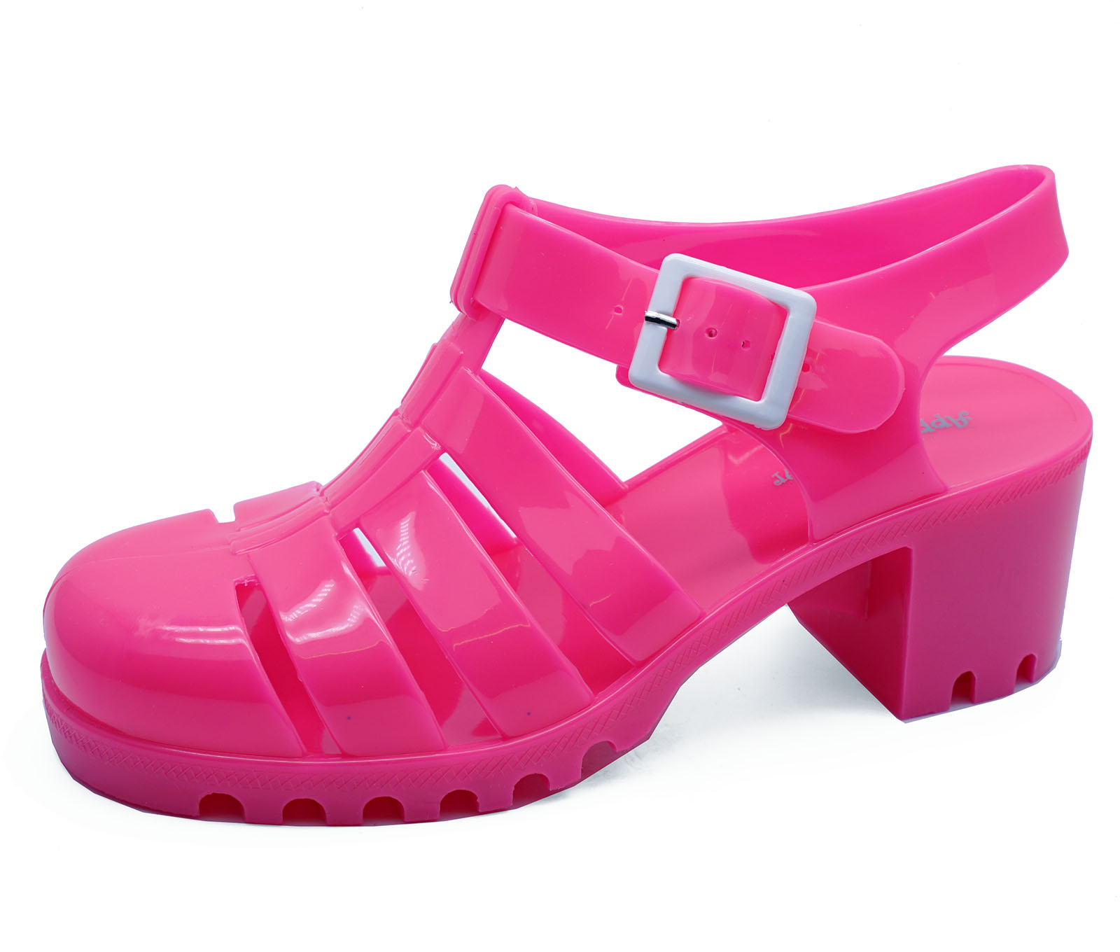 fe0dbc1f80f WOMENS PINK CHUNKY HEEL PLATFORM JELLY HOLIDAY SANDALS PUMPS SHOES ...