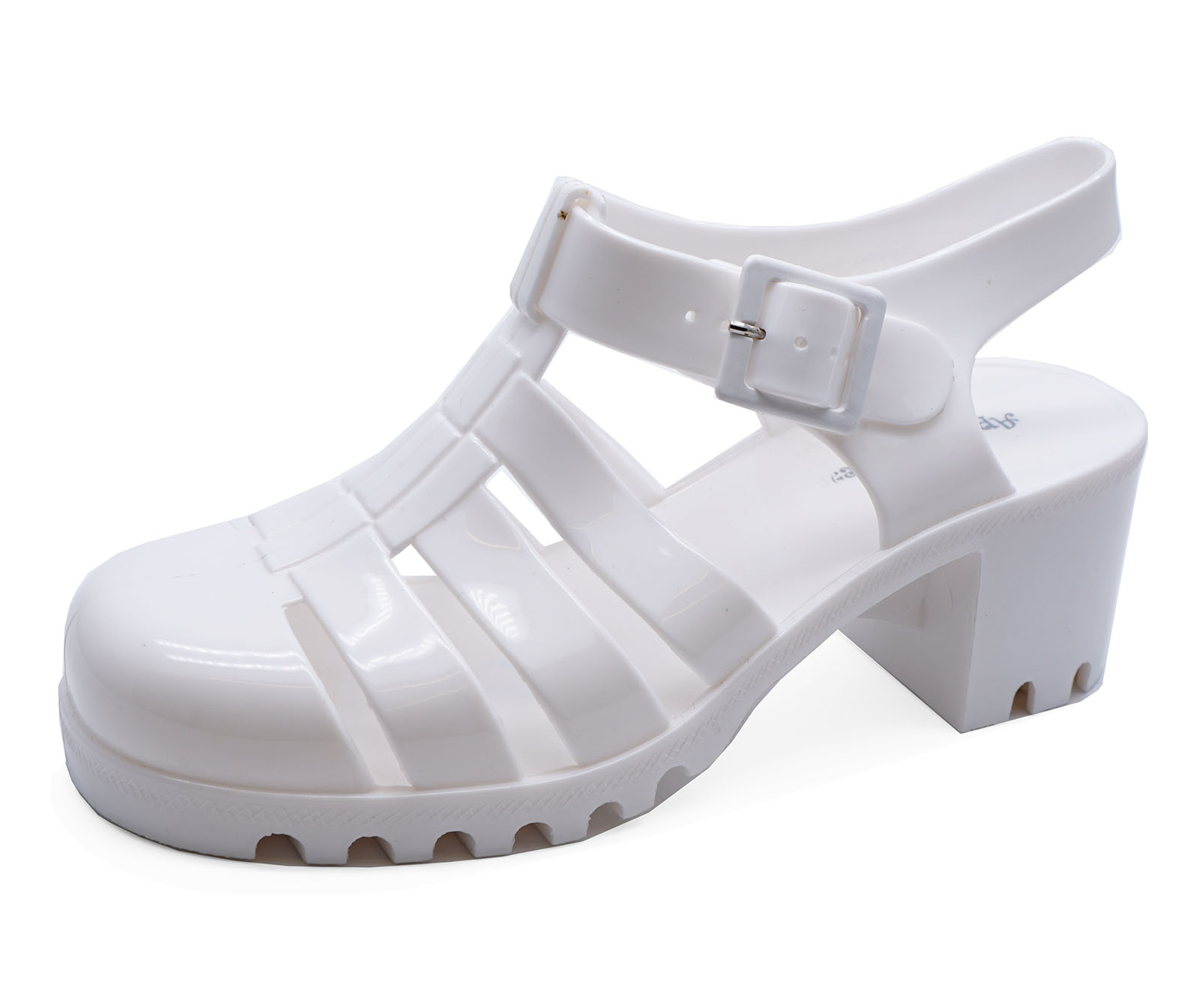 0dab4cc88edf Sentinel WOMENS WHITE CHUNKY HEEL PLATFORM JELLY HOLIDAY SANDALS PUMPS SHOES  SIZES 3-8