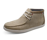 View Item MENS SMART BEIGE CANVAS CASUAL LACE-UP ANKLE DESERT COMFY BOOTS SHOES UK 6-11