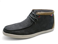 View Item MENS SMART GREY CANVAS CASUAL LACE-UP ANKLE DESERT COMFY BOOTS SHOES UK 6-11