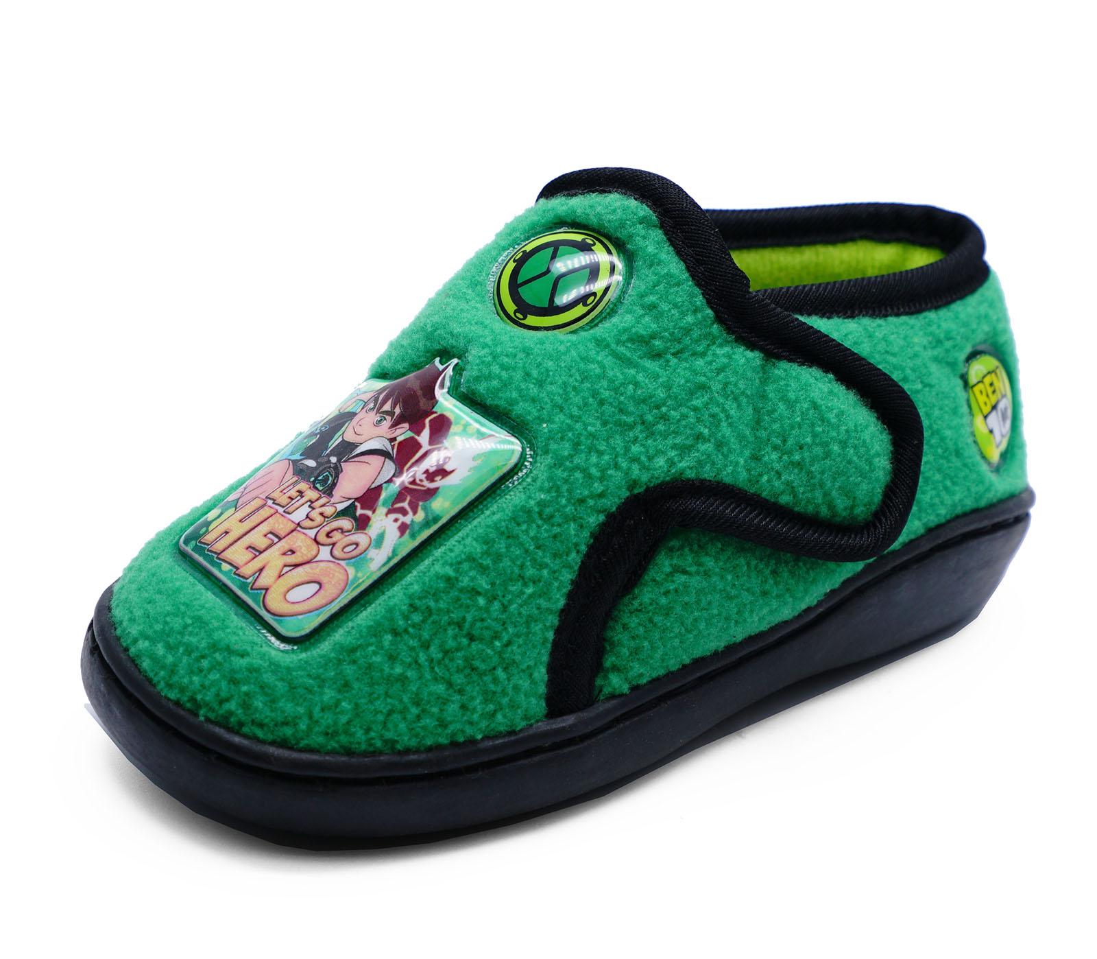 Chicos Infantes Niños Ben 10 Verde Cómodos Pantuflas Zapatos De Regalo Novedad Para Niños 4-8