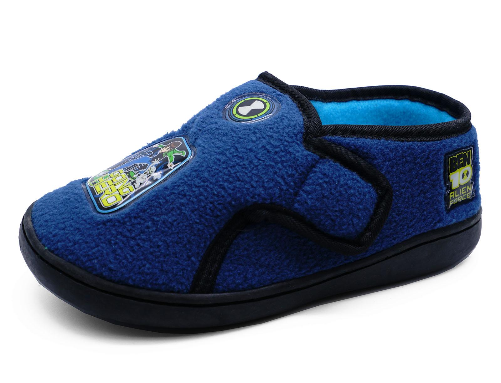 Junior Boys Kids Ben 10 Navy fy Warm Indoor Slippers Childrens