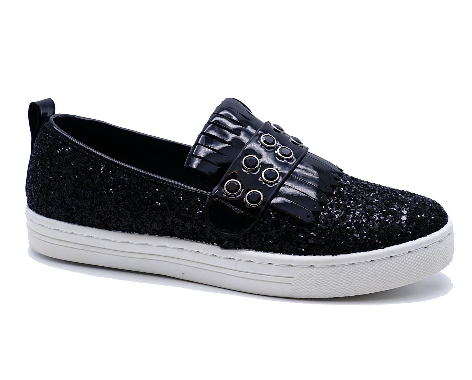 Black Glitter Platform Flats Shoes Women Ebay