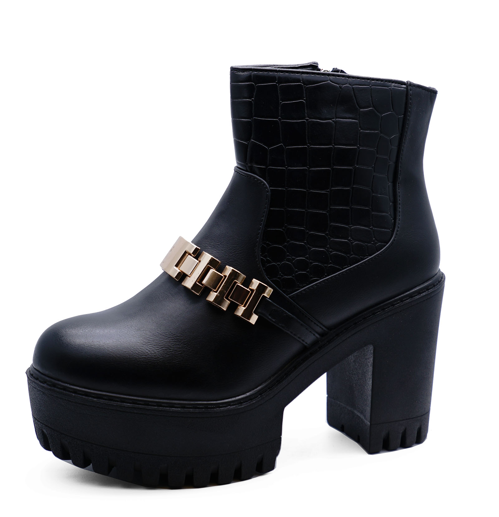 0a4a2ebcfbb998 LADIES BLACK CHUNKY ZIP-UP ANKLE BIKER CALF PLATFORM LACE-UP BOOTS ...