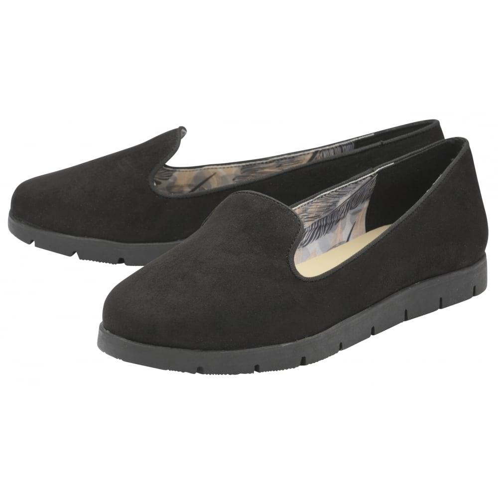 Señoras Dolcis Tracey Negro Slip-on Cómodos Zapatos de espuma de memoria bombas de ballet UK 3-8