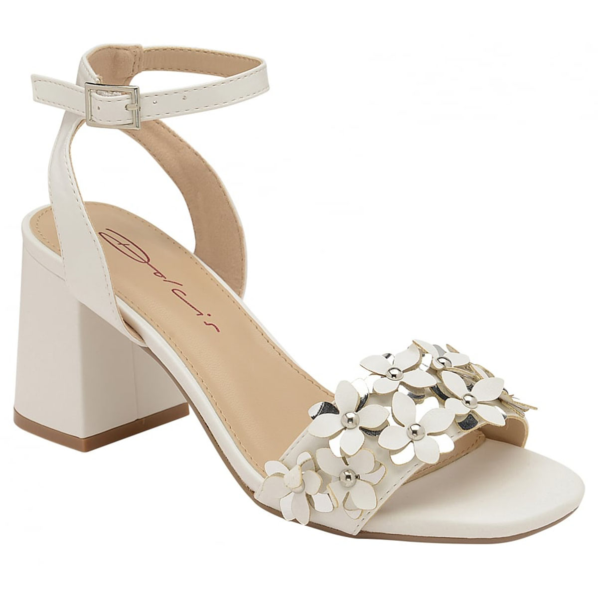 1392d6cb7e8b Item Details - LADIES DOLCIS NIAMH WHITE BLOCK HEEL ANKLE PEEP-TOE SANDALS  STRAPPY SHOES UK 3-8