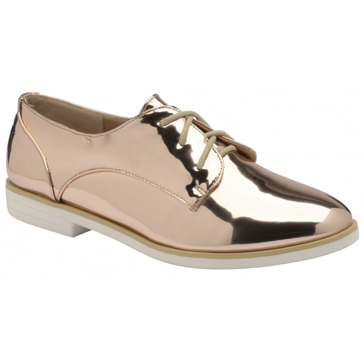 2c9742ca061 Sentinel LADIES DOLCIS KIA ROSE GOLD FLAT LACE-UP METALLIC BROGUE PUMPS  LOAFERS SHOES 3-