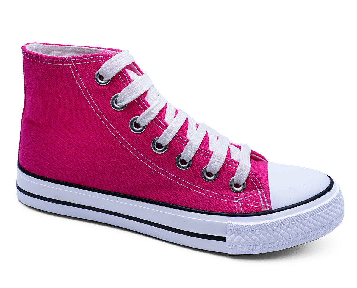 Mujer Rosa Lona Con Cordones Plana entrenador Playera Bombas Zapatos Botas informales 3-8