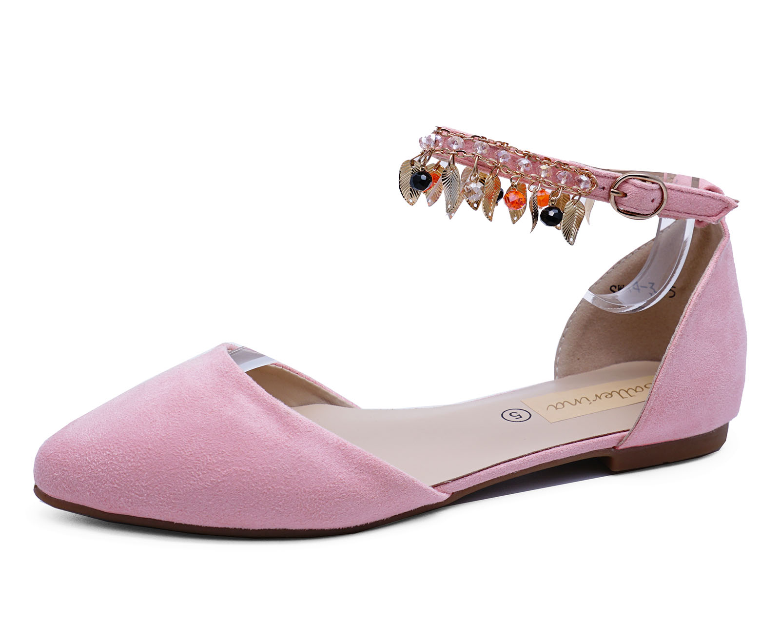WOMENS FLAT PINK SLIP-ON DOLLY SHOES