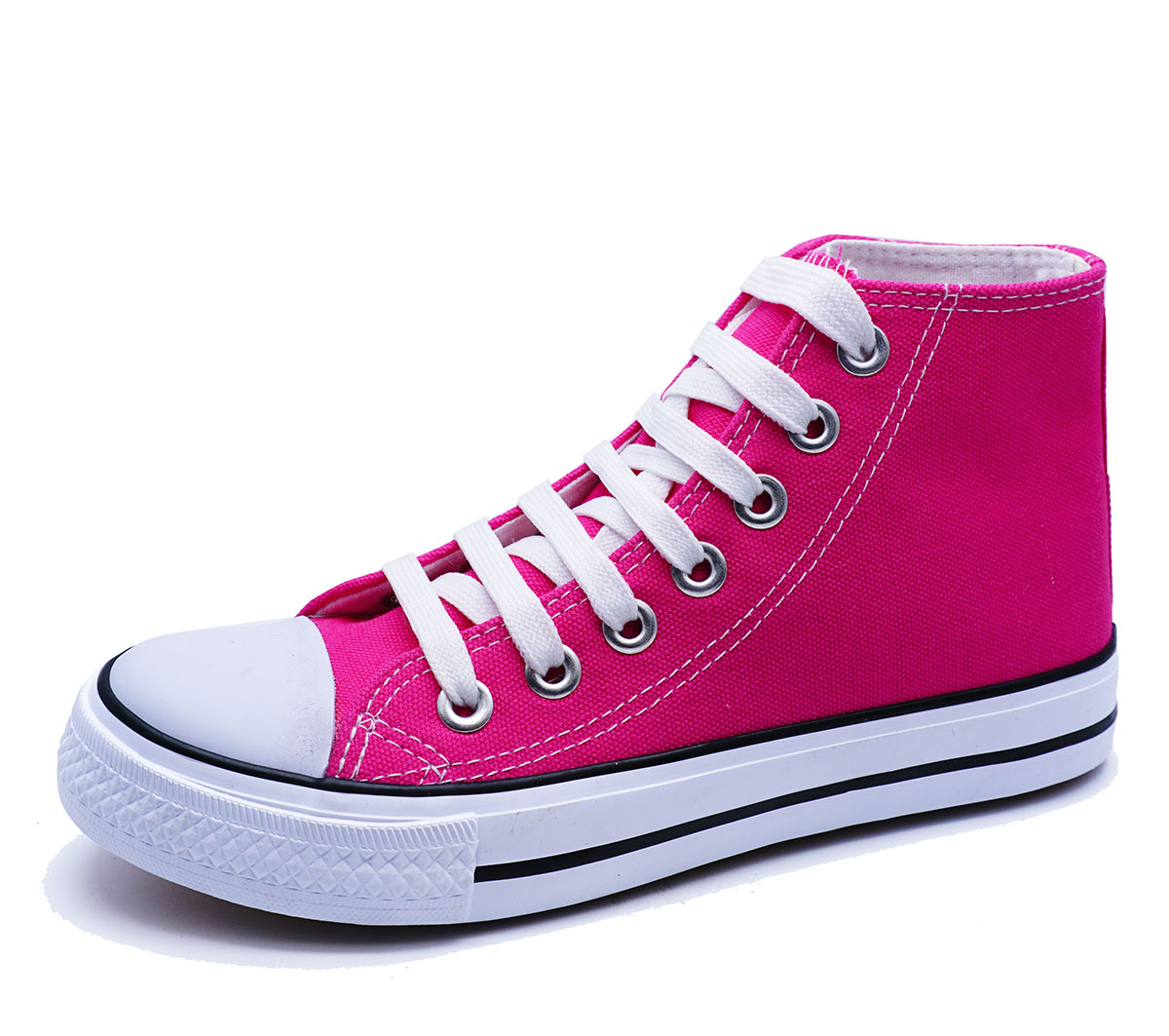 Señoras Rosa entrenador Plano De Lona Con Cordones Tobillo Alto Bombas Zapatos Botas cómoda UK 3-8