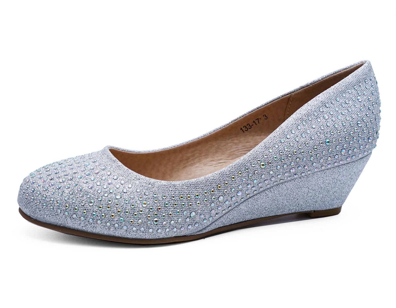 Diamante Wedge Wedding Shoes