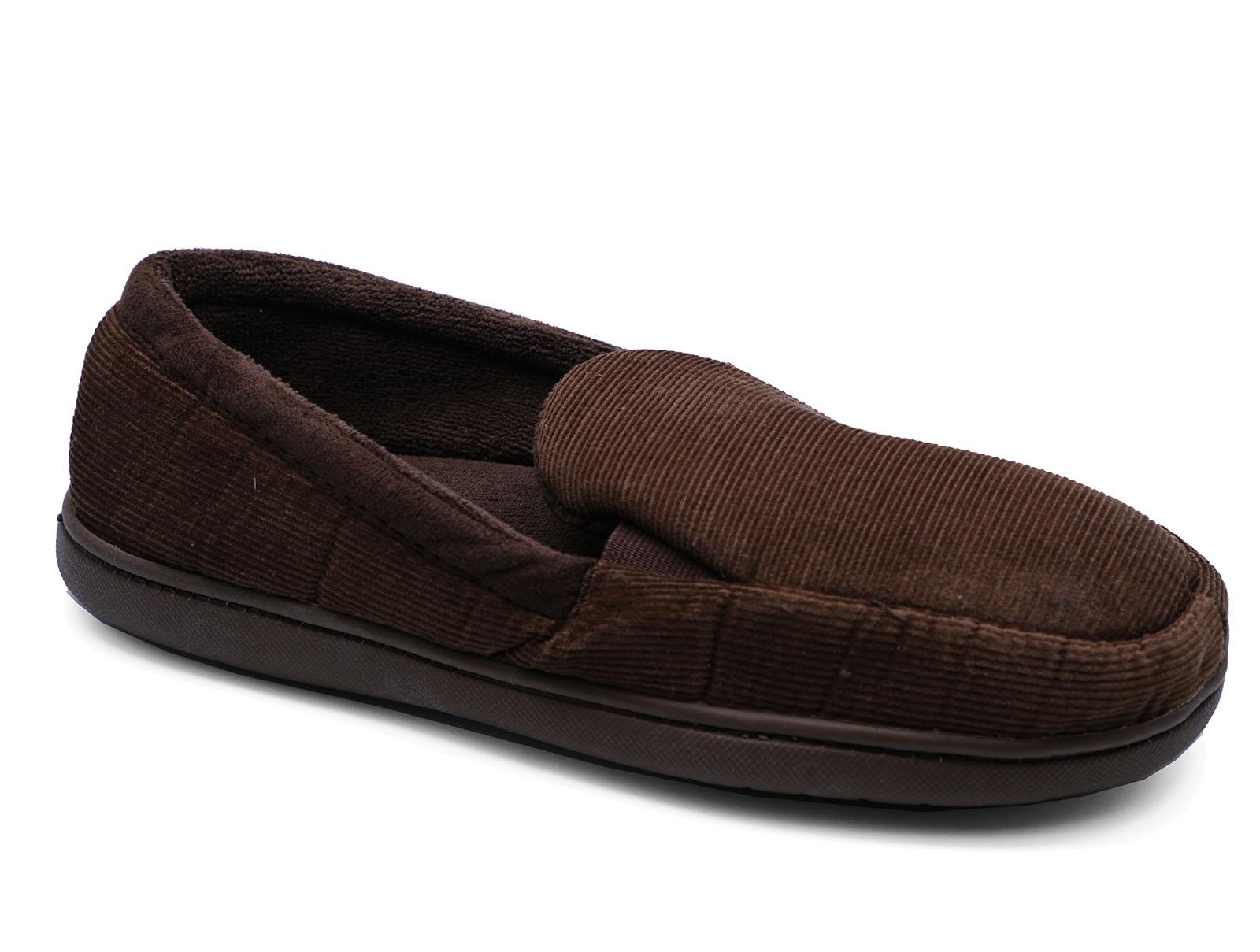 Para Hombre Marrón Sin Cordones Plana Caliente Cómodo Fresco De Interior Zapatillas De Casa Zapatos Tallas 7-11