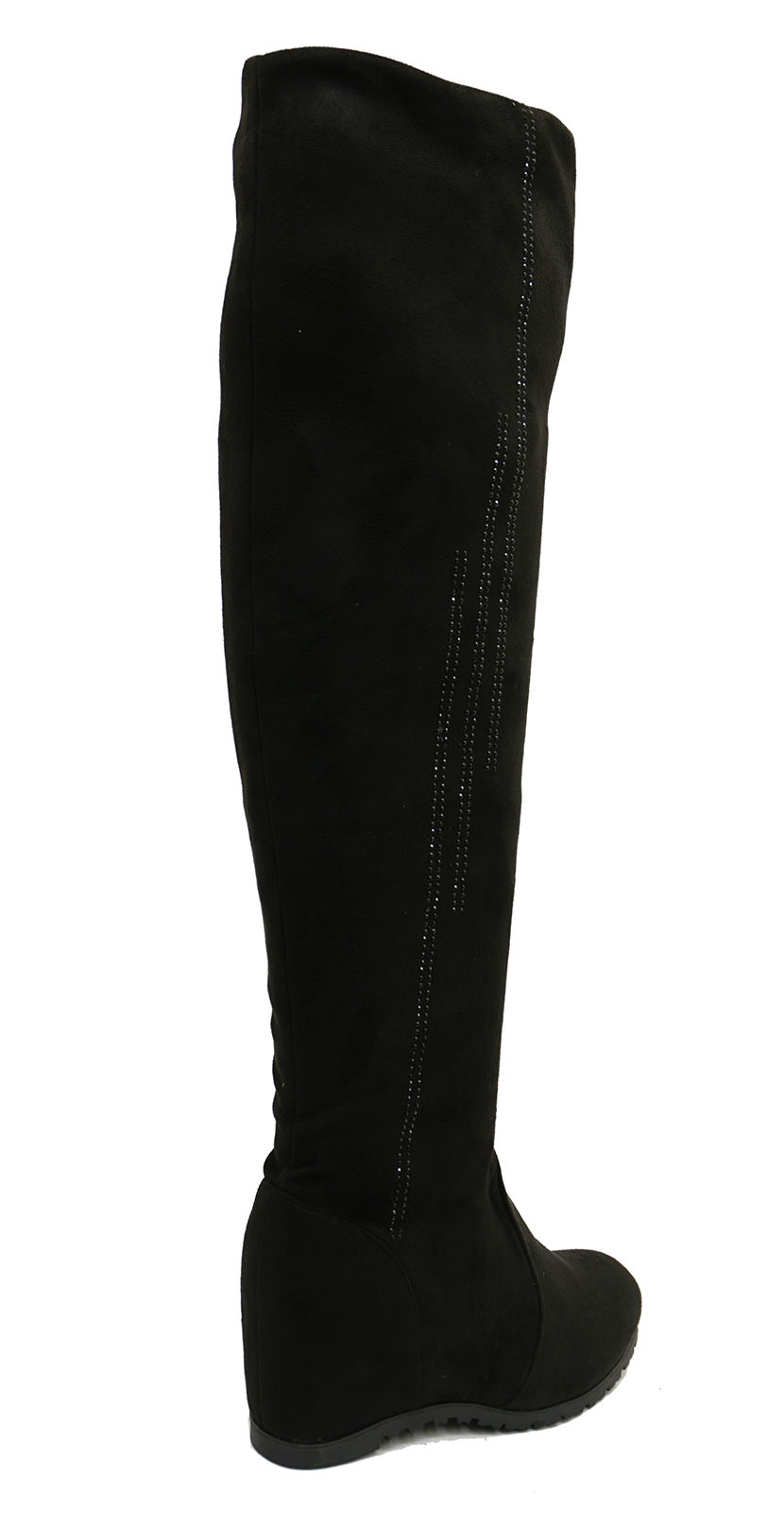 ac9e509507a Sentinel LADIES BLACK SOFT STRETCH OVER THE KNEE HIGH RUCHED WEDGE BOOTS  SHOES UK 3-8
