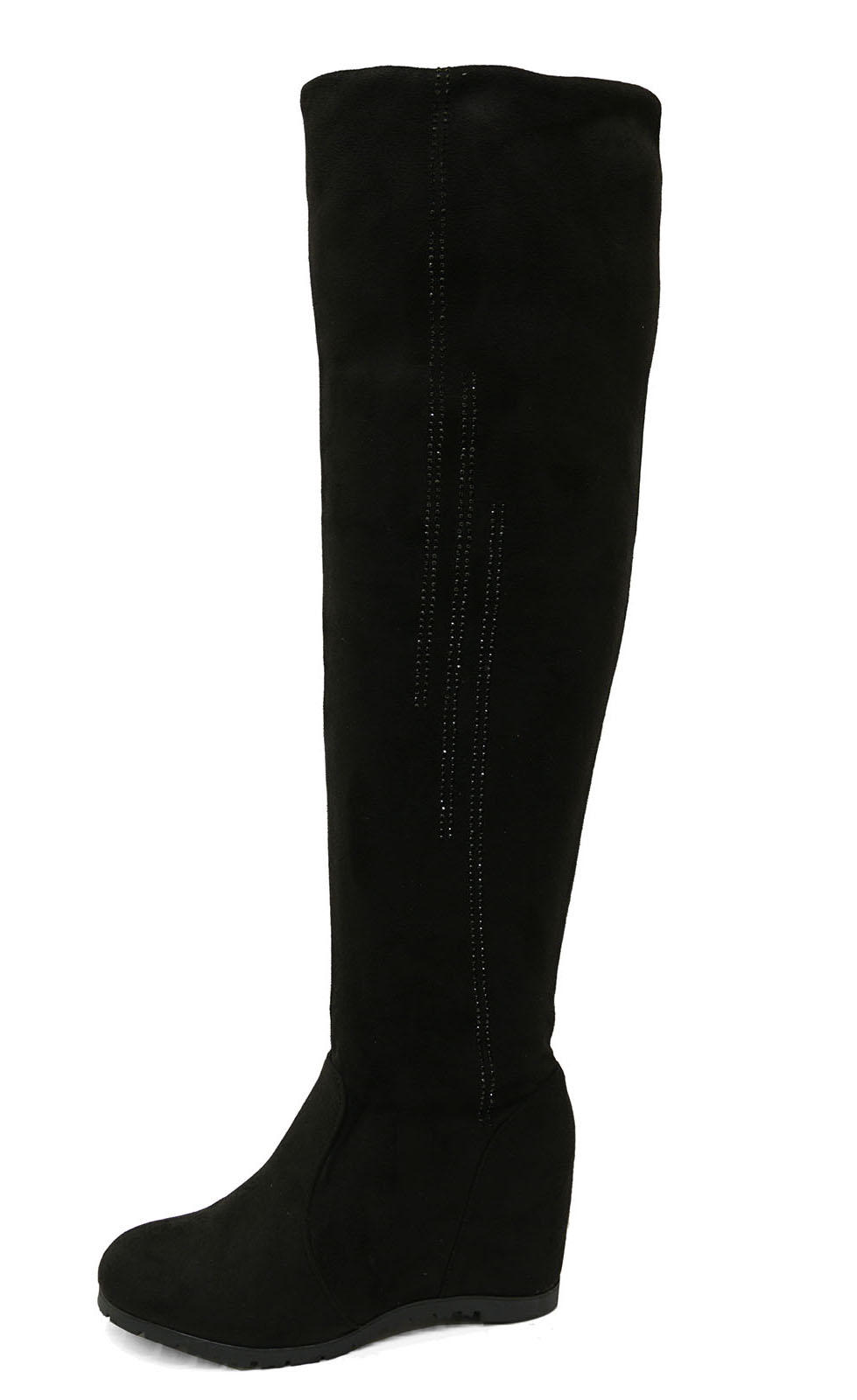 0eda22c7963 Ladies Black Soft Stretch Over The Knee High Ruched Wedge BOOTS ...