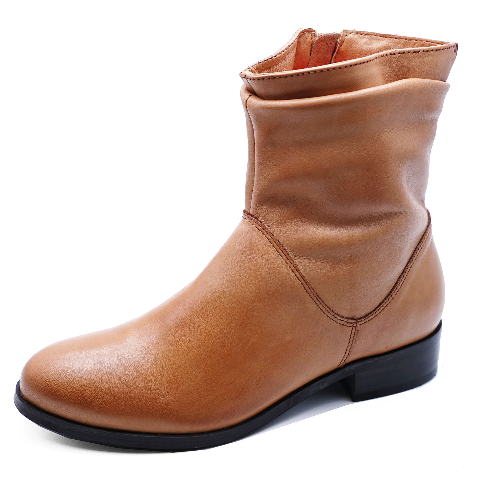 LADIES-FLAT-GENUINE-LEATHER-TAN-ZIP-UP-ANKLE-CALF-BOOTS-COMFY-SHOES-SIZES-2-9 thumbnail 6