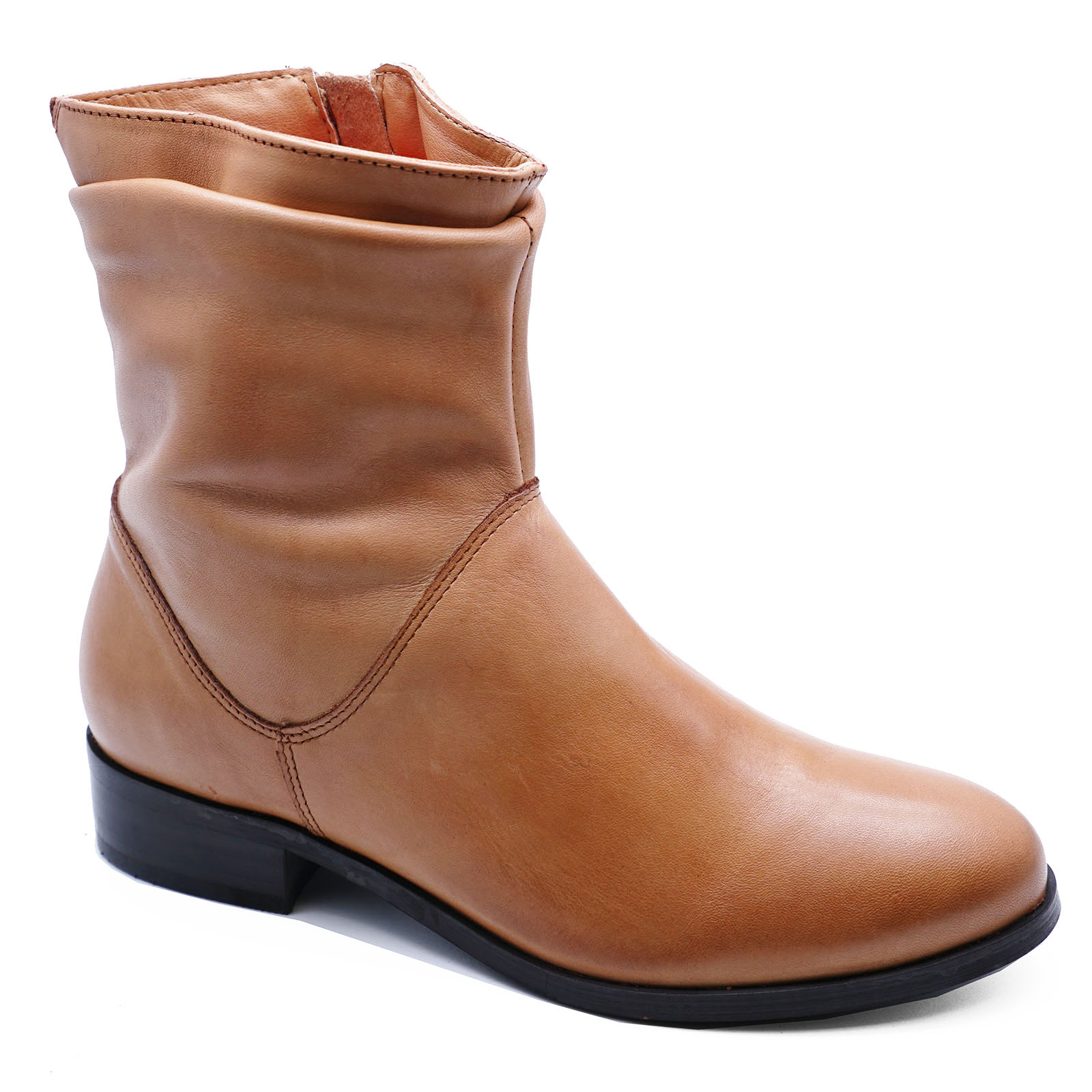 LADIES-FLAT-GENUINE-LEATHER-TAN-ZIP-UP-ANKLE-CALF-BOOTS-COMFY-SHOES-SIZES-2-9 thumbnail 12