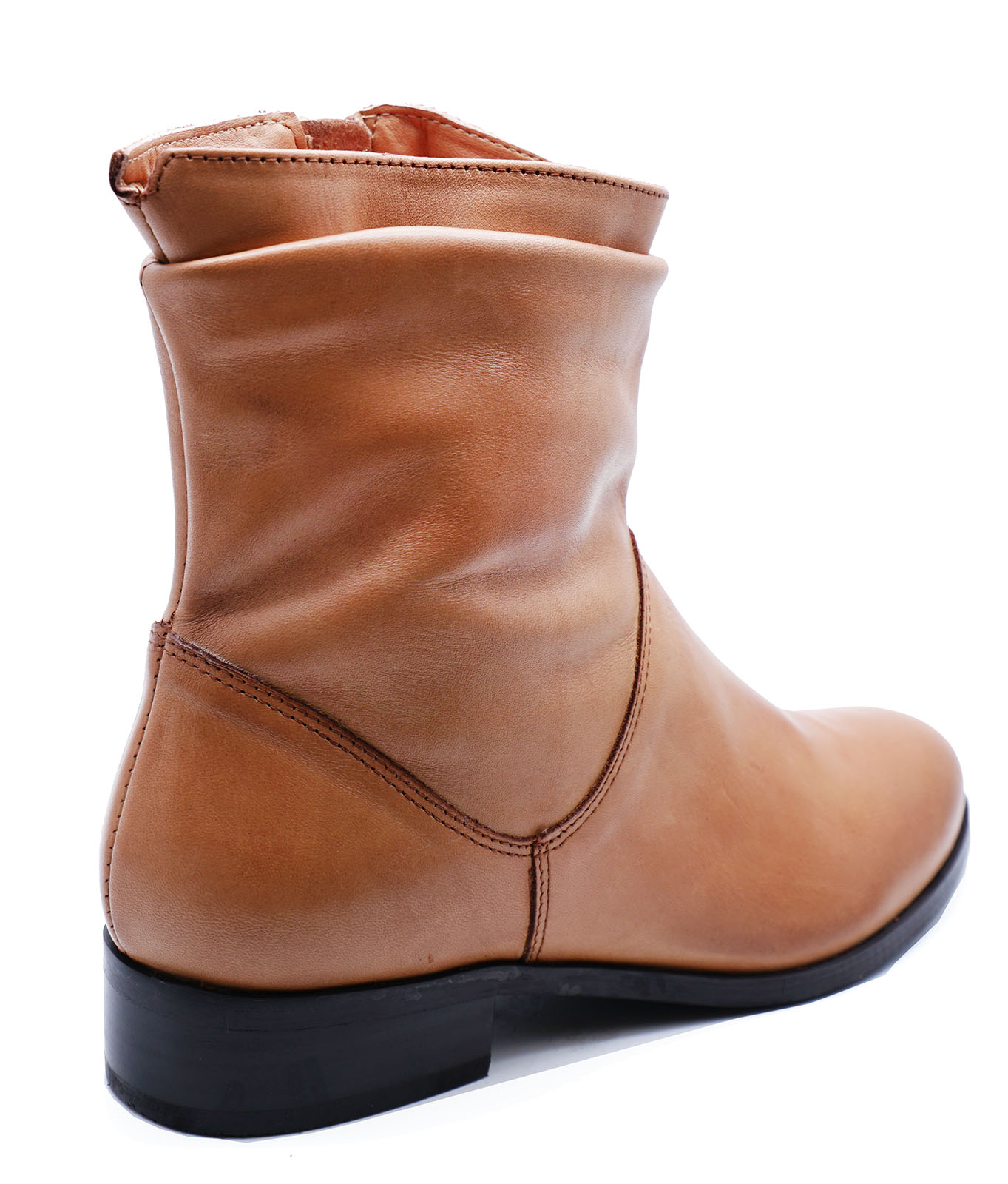 LADIES-FLAT-GENUINE-LEATHER-TAN-ZIP-UP-ANKLE-CALF-BOOTS-COMFY-SHOES-SIZES-2-9 thumbnail 14
