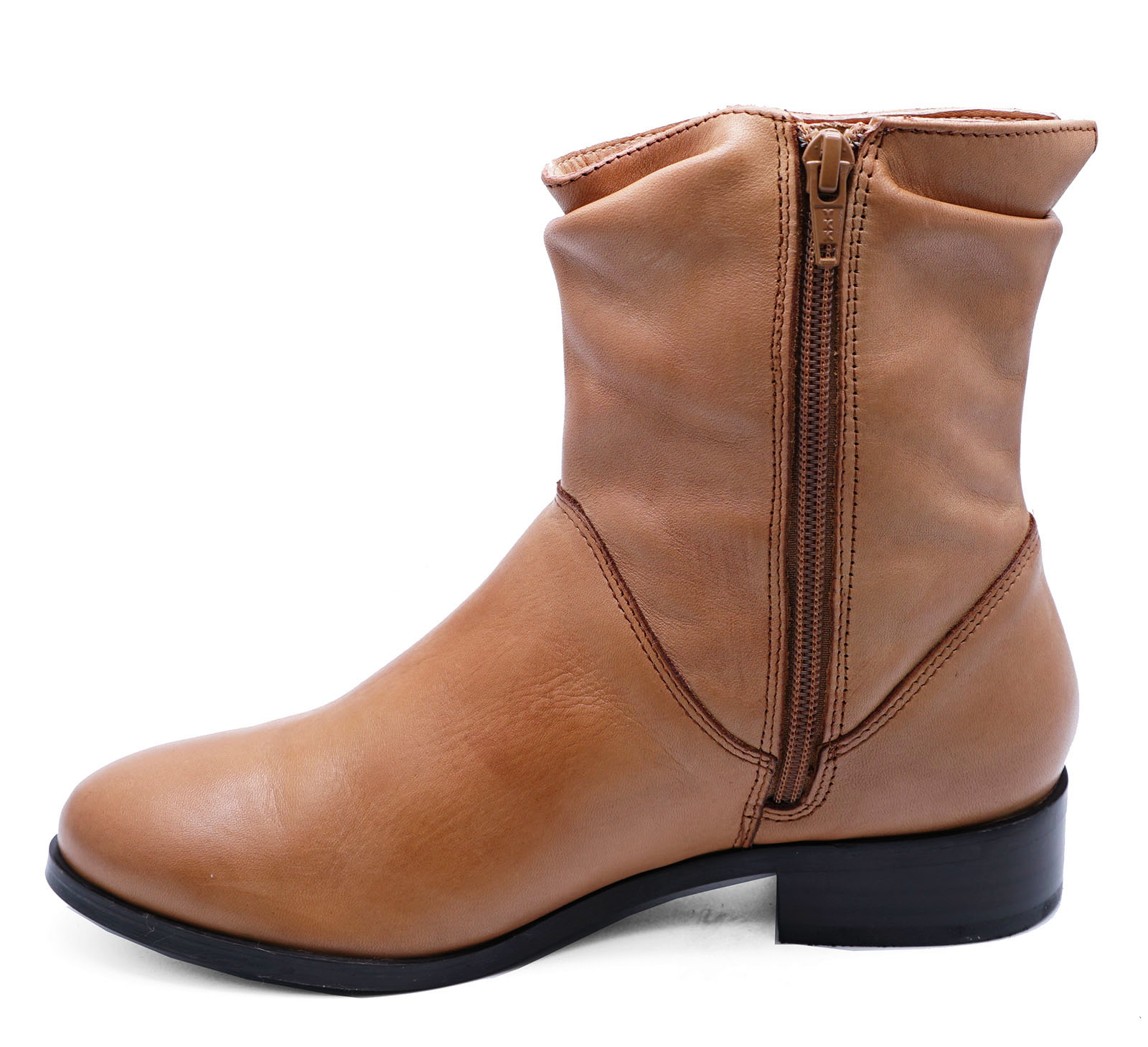 LADIES-FLAT-GENUINE-LEATHER-TAN-ZIP-UP-ANKLE-CALF-BOOTS-COMFY-SHOES-SIZES-2-9 thumbnail 38