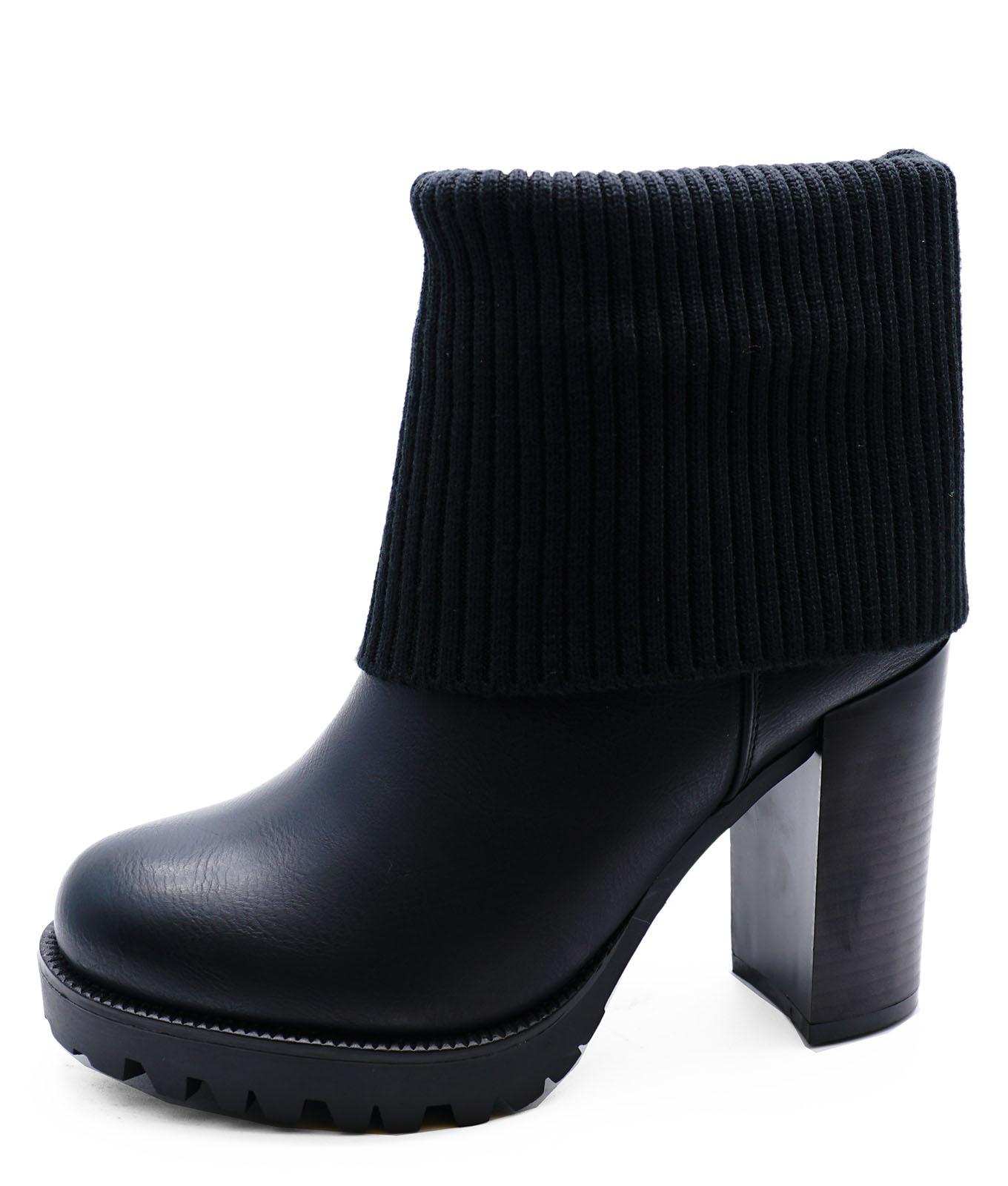 407bae5be20e Sizes Work Shoes Ankle Boots Calf cuff Biker Black Womens Platform 8 3  Smart n01ZvqW
