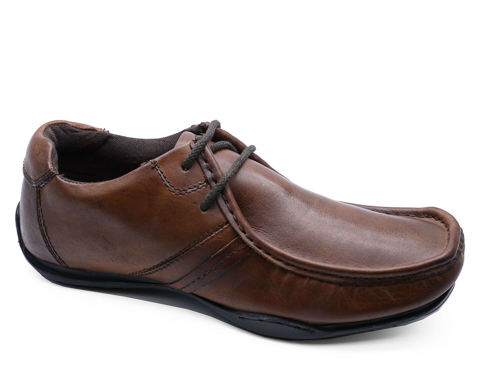 Mens Brown Real Leather Lace Slip On Comfy Smart Casual Work Shoes