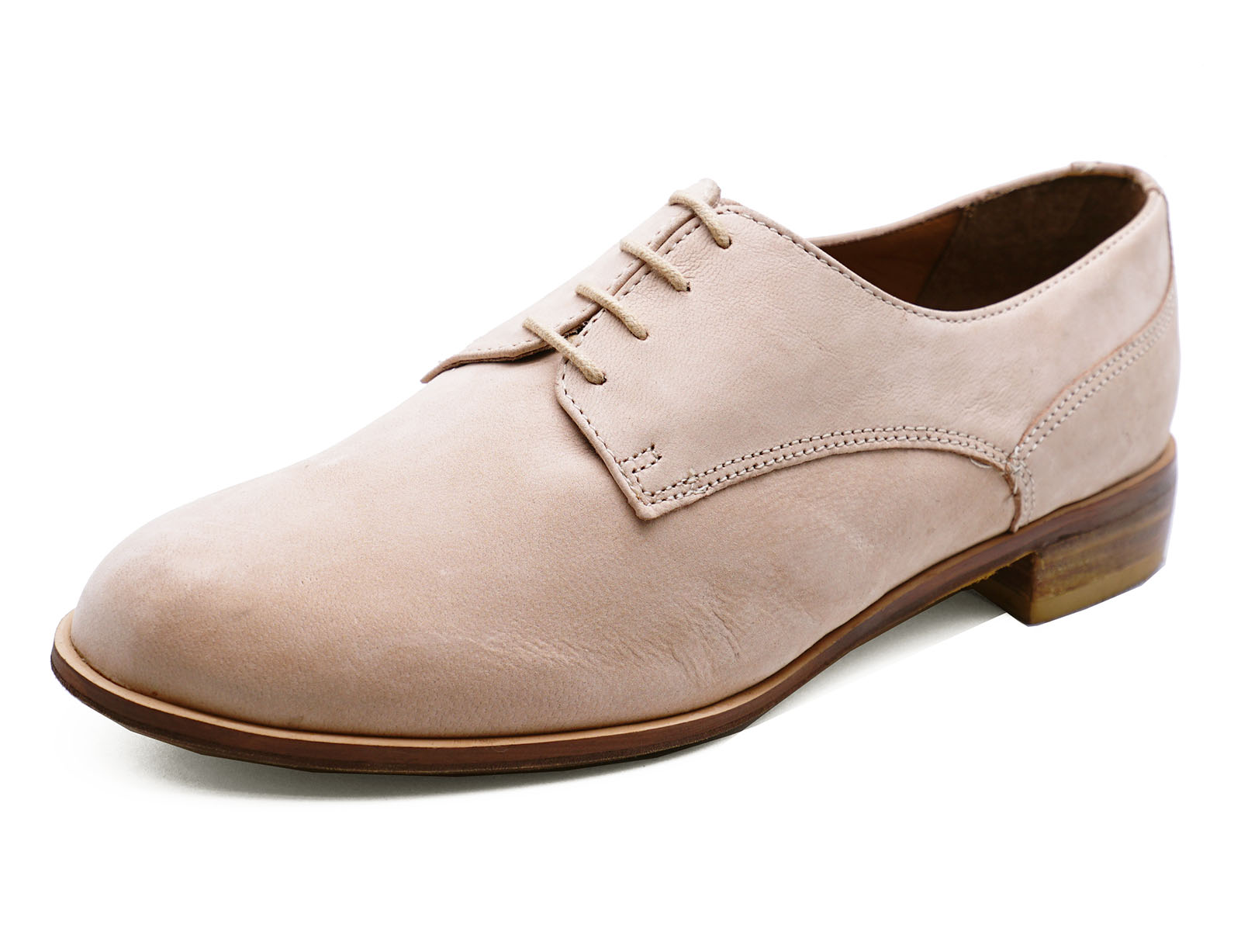 Ladies Real Leather Nude Flat Lace Up Brogue Loafers Smart Casual