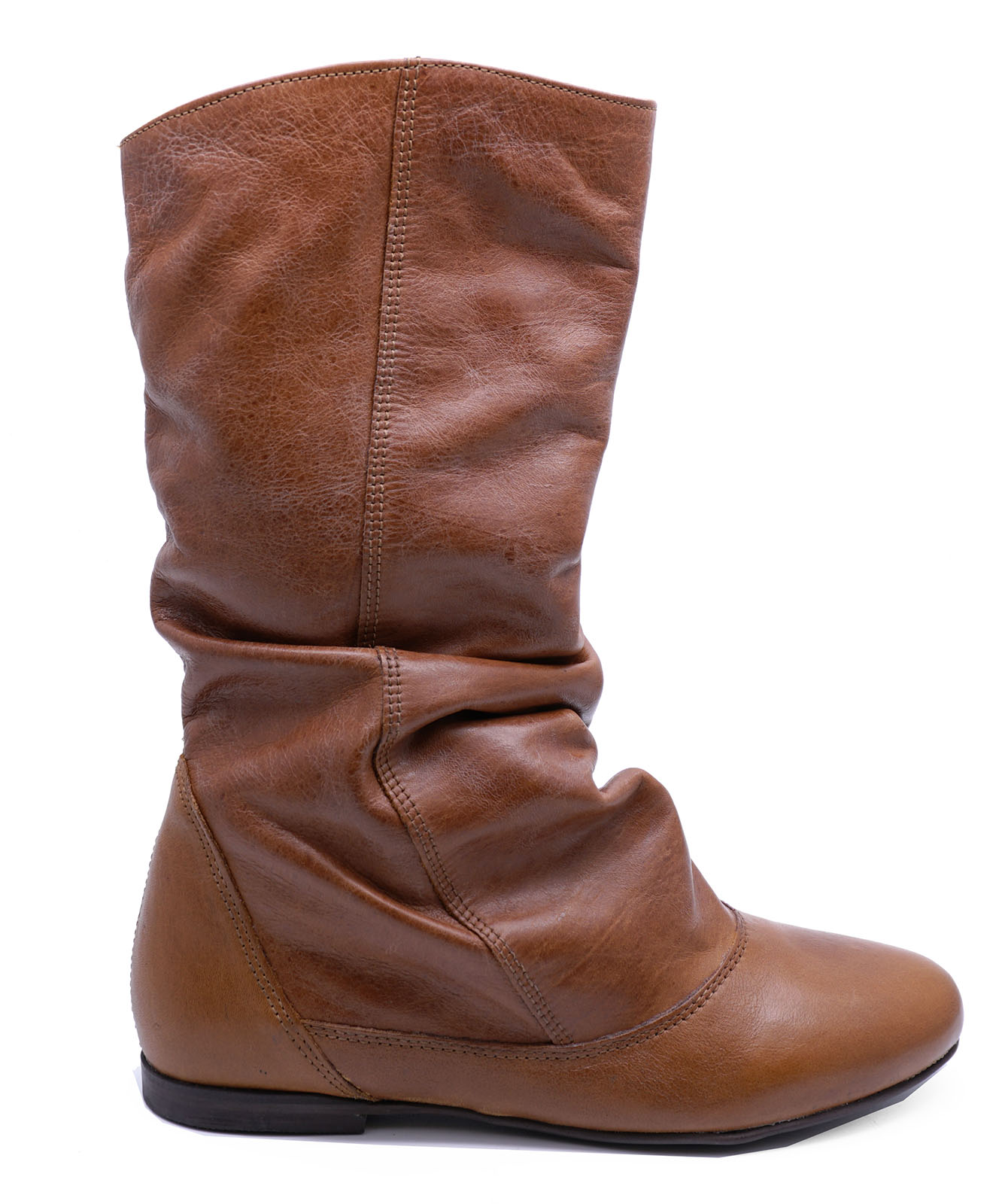 34c0d6da775 Sentinel LADIES REAL LEATHER TAN FLAT SLOUCH COMFY RUCHED TALL KNEE-HIGH  CALF BOOTS 3-