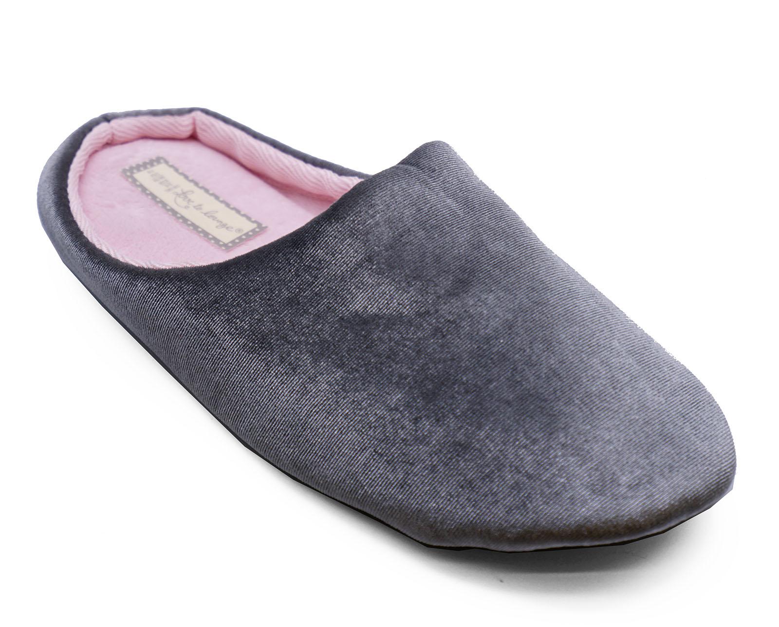 Señoras sin Cordones Gris Cómodo Mulas Cálido Pantuflas Zapatos de Casa Interior Al Aire Libre 3-8
