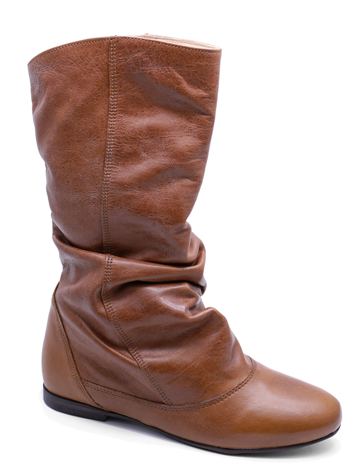 Womens Genuine Leather Brown Flat Slouch Cowboy Knee-High -6600
