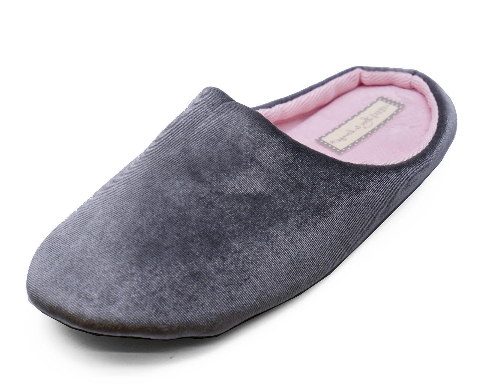 Para Mujer sin Cordones Gris Cómodo acogedor interior Zapatillas Novedad Regalo Mulas Zapatos UK 3-8
