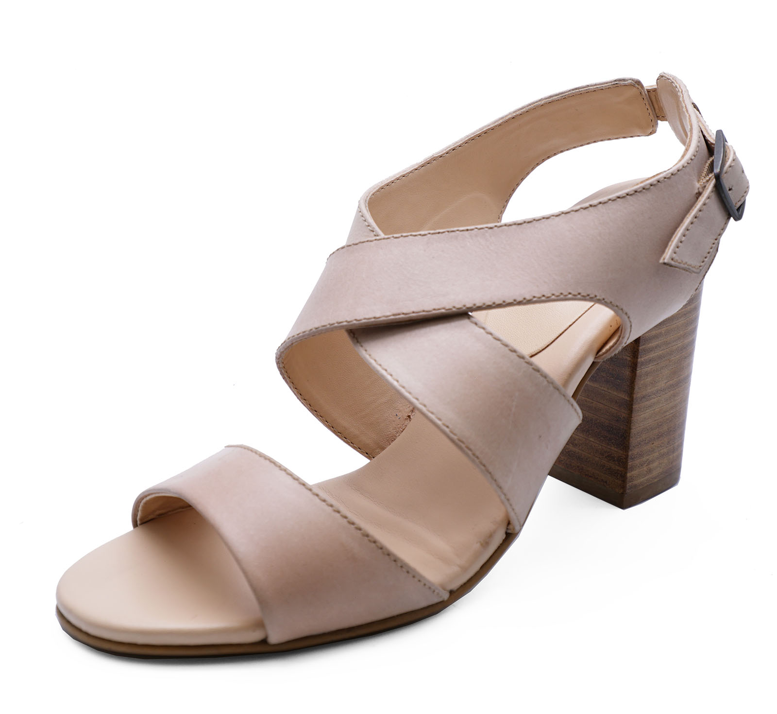 86faf79fac8631 Sentinel WOMENS GENUINE LEATHER NUDE OPEN-TOE SANDALS ELEGANT STRAPPY SHOES  SIZES 3-8