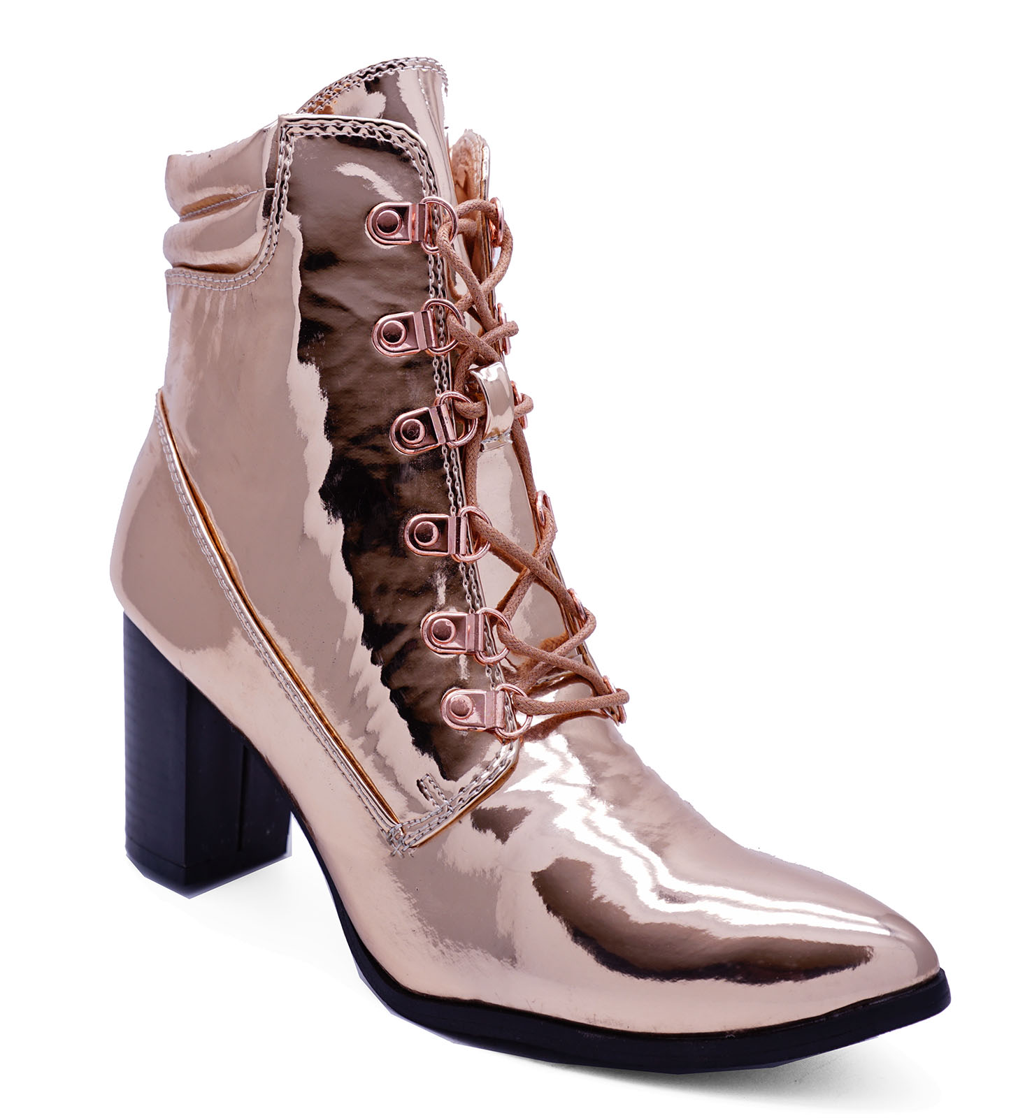 2346a3c32a6ea8 Sentinel WOMENS ROSE GOLD BLOCK-HEEL LACE-UP ANKLE MILITARY POINTY BOOTS SHOES  SIZES 3