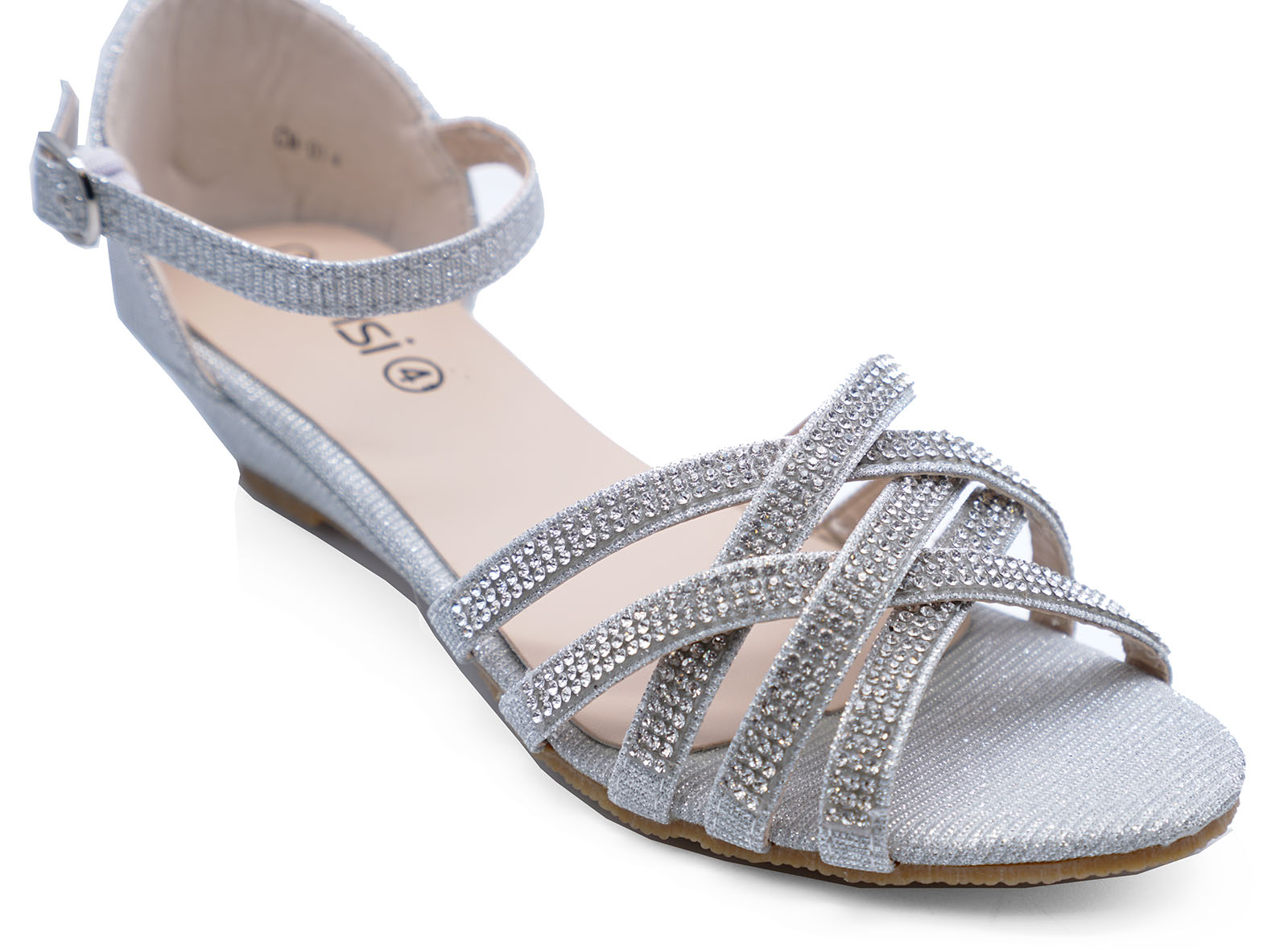 wedding silver shoes silver wedding bridal bridesmaid diamante wedge 1159