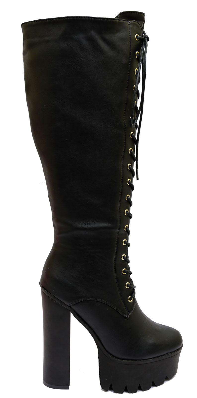 3d08fa7037a Sentinel WOMENS BLACK GO-GO RETRO KNEE HIGH PLATFORM FANCY DRESS BOOTS  SHOES SIZES 3-