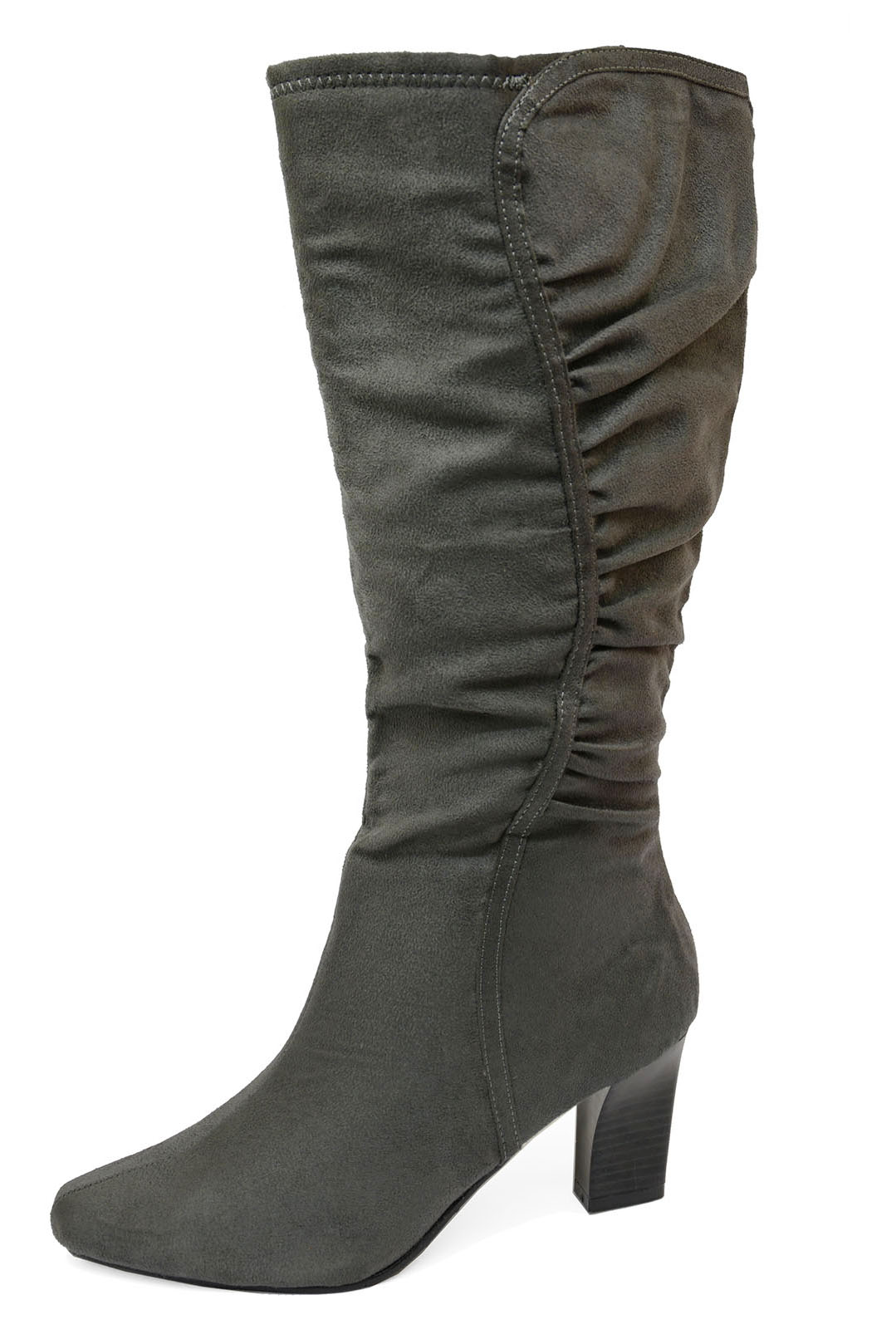 WOMENS GREY LOW-HEEL WIDE-CALF TALL KNEE-HIGH WINTER BOOTS