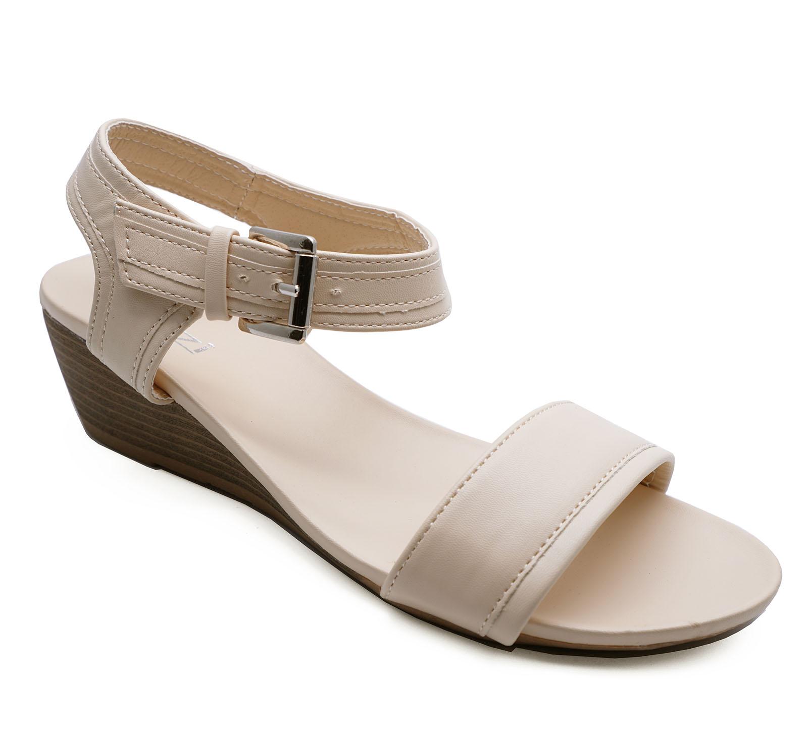 Ladies Nude Puntera Abierta Cuñas Sandalias Flip-Flop Vacaciones de Verano Zapatos para Caminar 3-8
