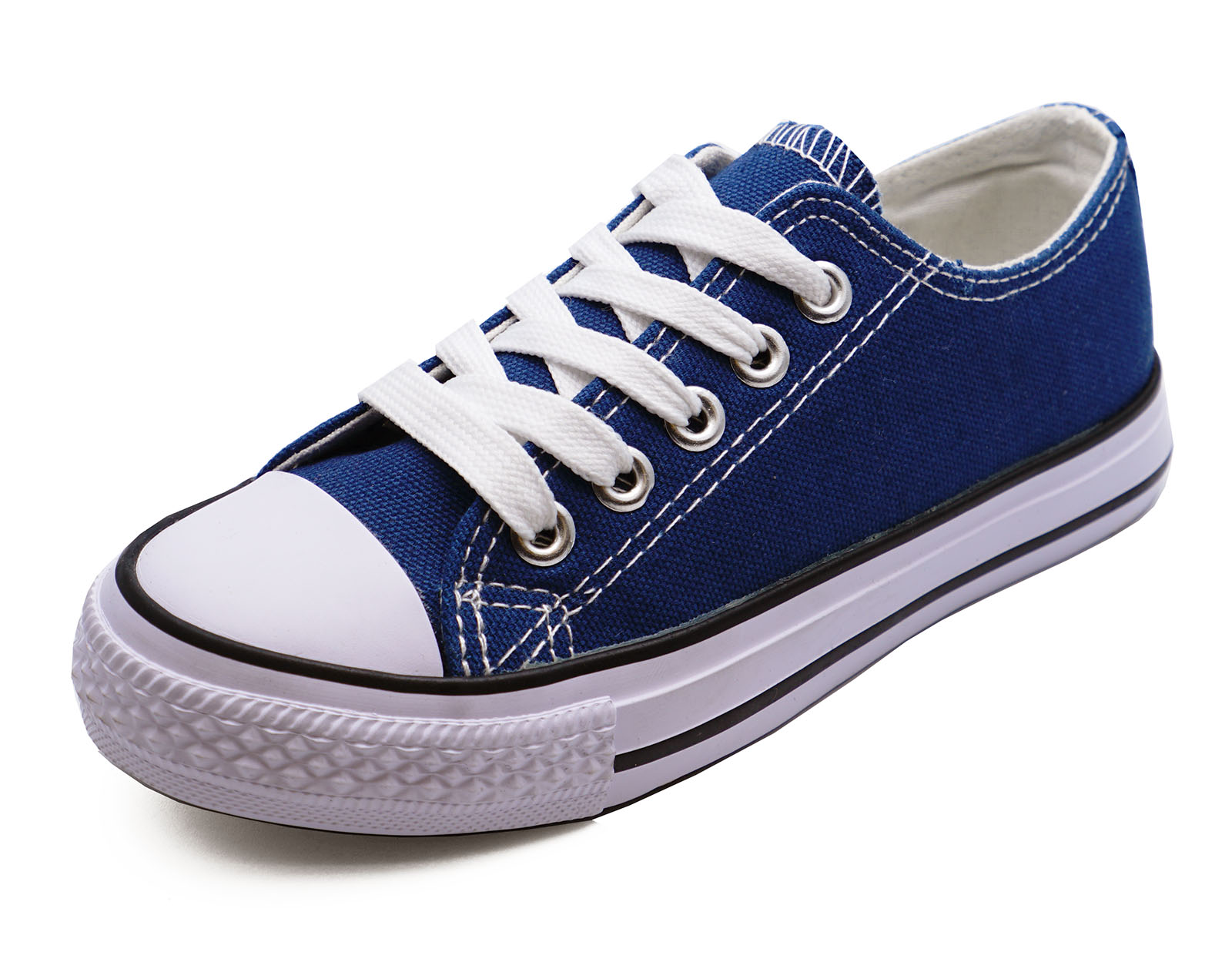 GIRLS BOYS KIDS CHILDRENS NAVY CANVAS LACE-UP PLIMSOLL PUMPS CASUAL SHOES UK 9-1