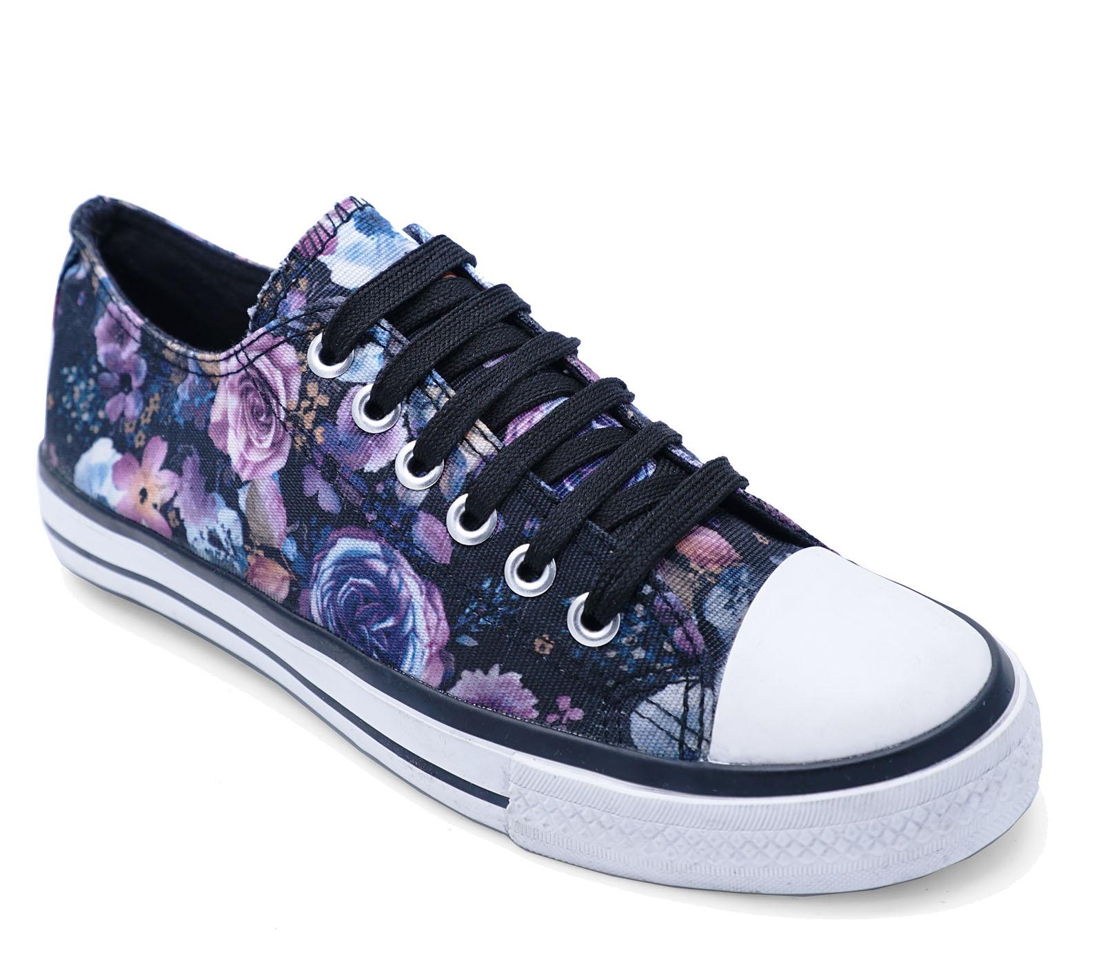 Floral Trainer Shoes 8 Black 3 Ladies Plimsoll Pumps Flat Lace Casual Canvas up UCnqgS