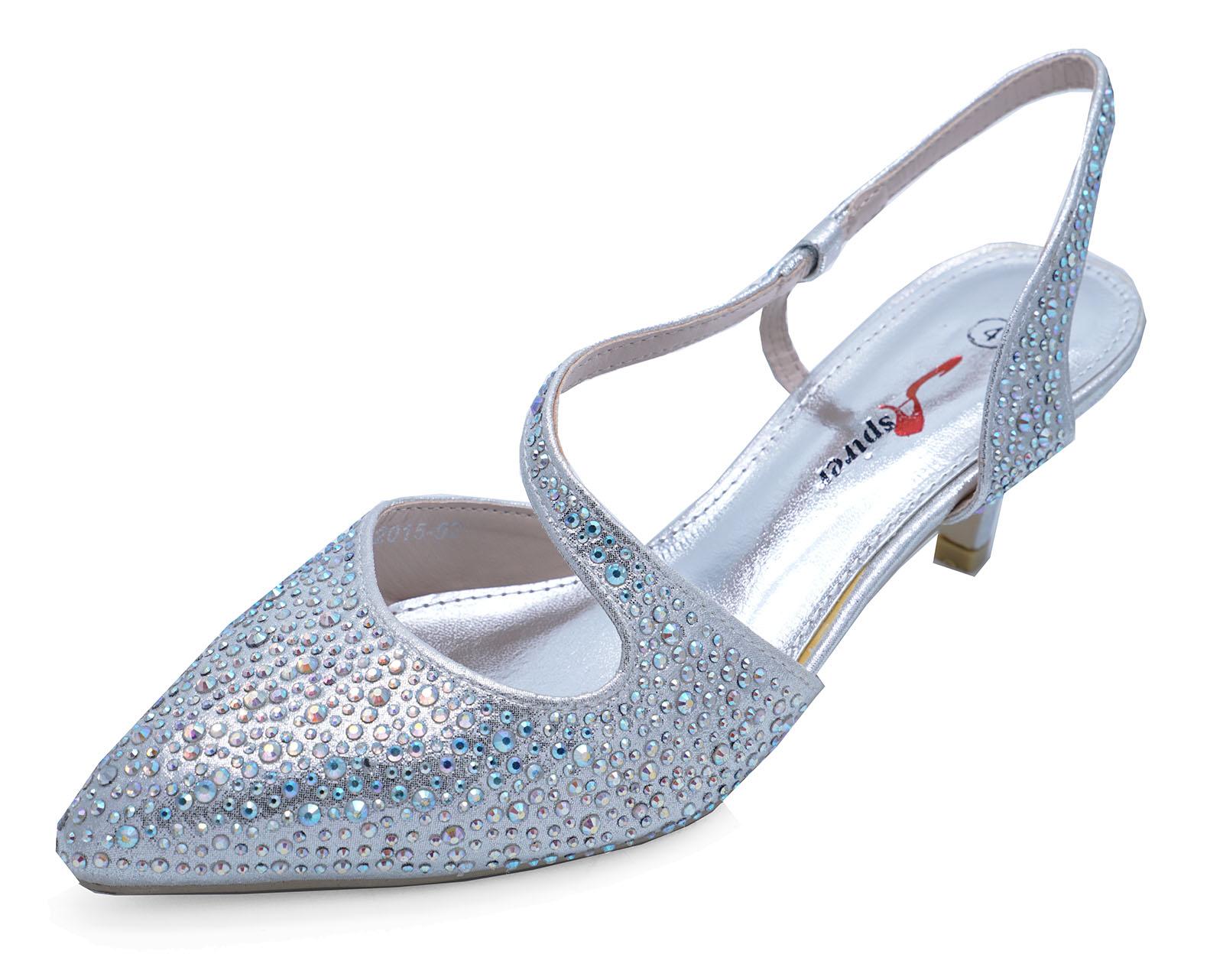 Shoes Silver 7 3 Prom Wedding heel Uk d'onore Kitten Diamante Damigella Ladies Court zxdq7n7