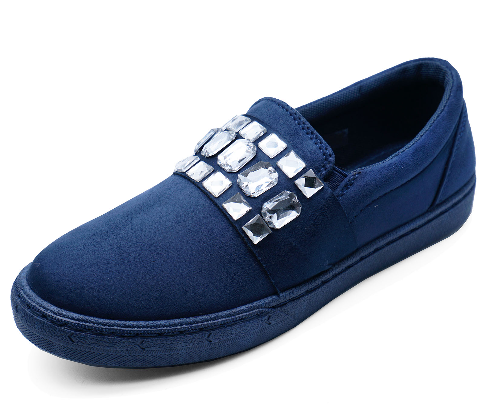 a10ede1ca2d Sentinel LADIES NAVY FLAT SLIP-ON DIAMANTE PUMPS CASUAL COMFY LOAFERS  TRAINERS SHOES 3-8