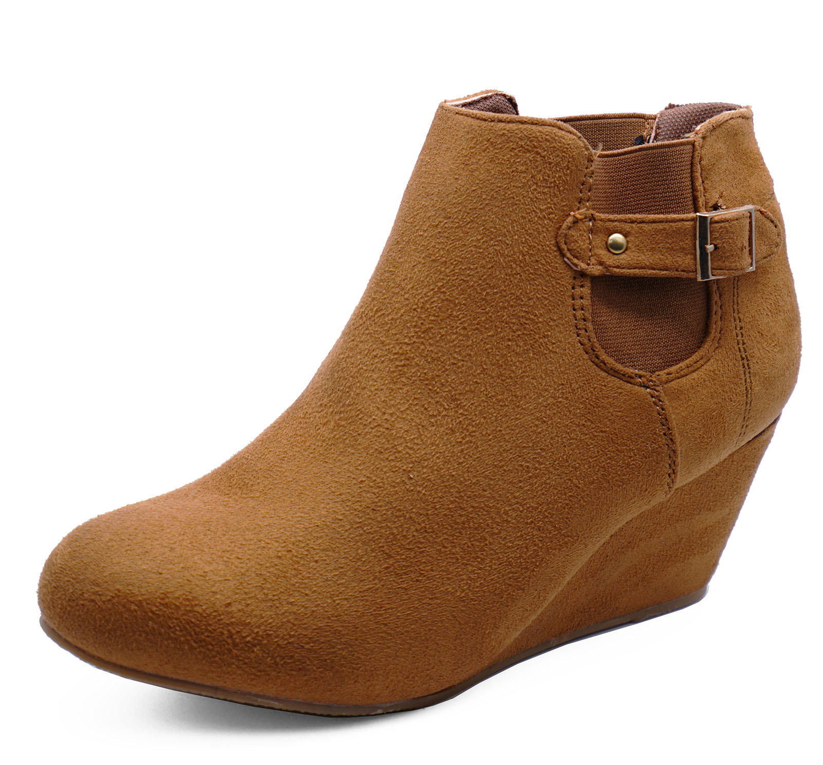2ebcffcbcc4c4 Sentinel WOMENS TAN BROWN LOW-WEDGE SMART CASUAL WORK ANKLE PIXIE BOOTS  SHOES UK 3-