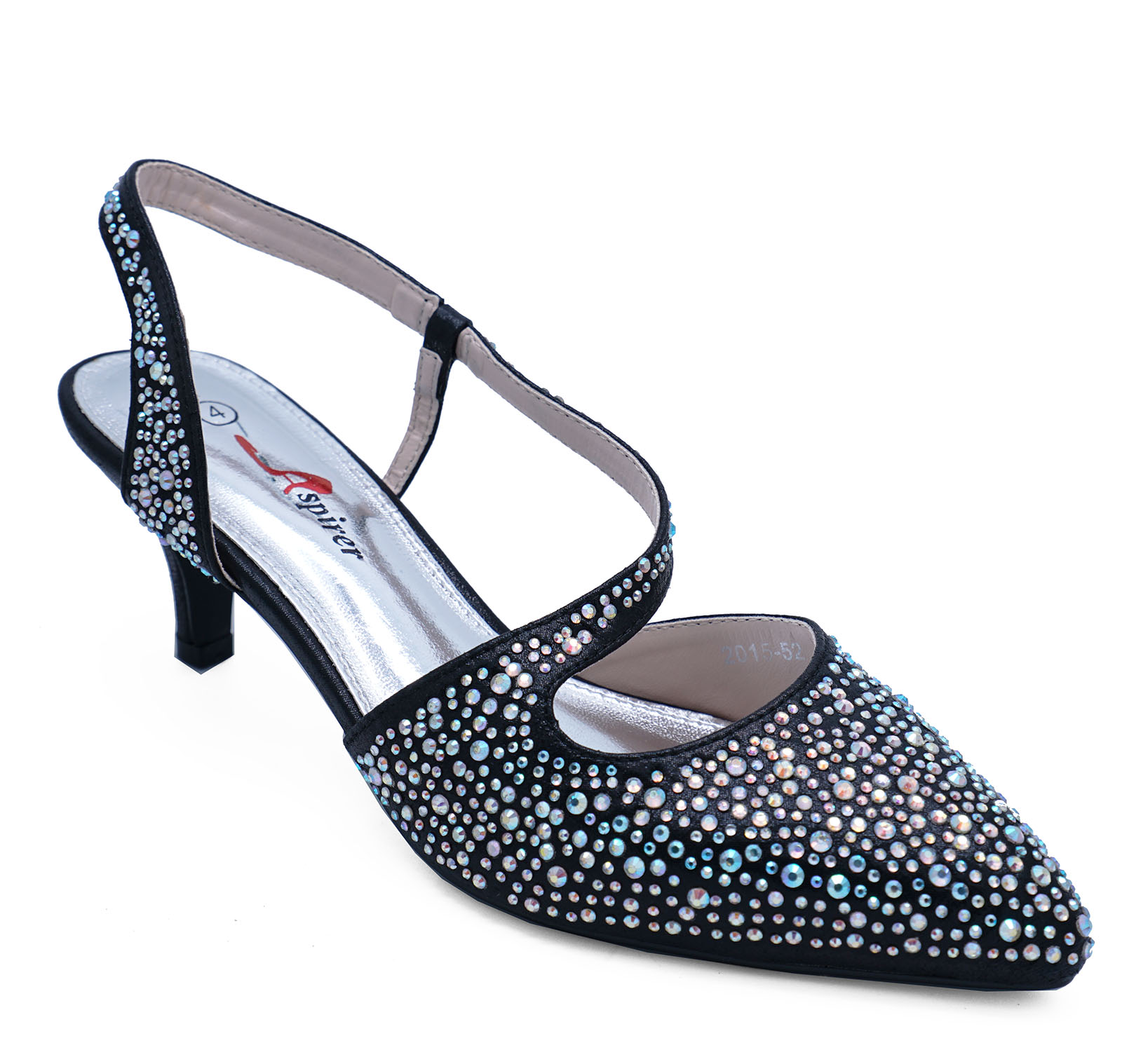 effece54292d Details about WOMENS BLACK LOW-HEEL SLINGBACK DIAMANTE ELEGANT PARTY  EVENING SHOES SIZES 3-8
