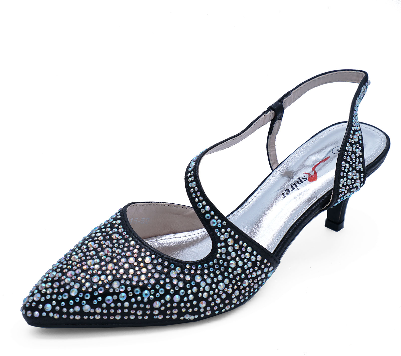 c15ad36742cd Sentinel WOMENS BLACK LOW-HEEL SLINGBACK DIAMANTE ELEGANT PARTY EVENING  SHOES SIZES 3-8
