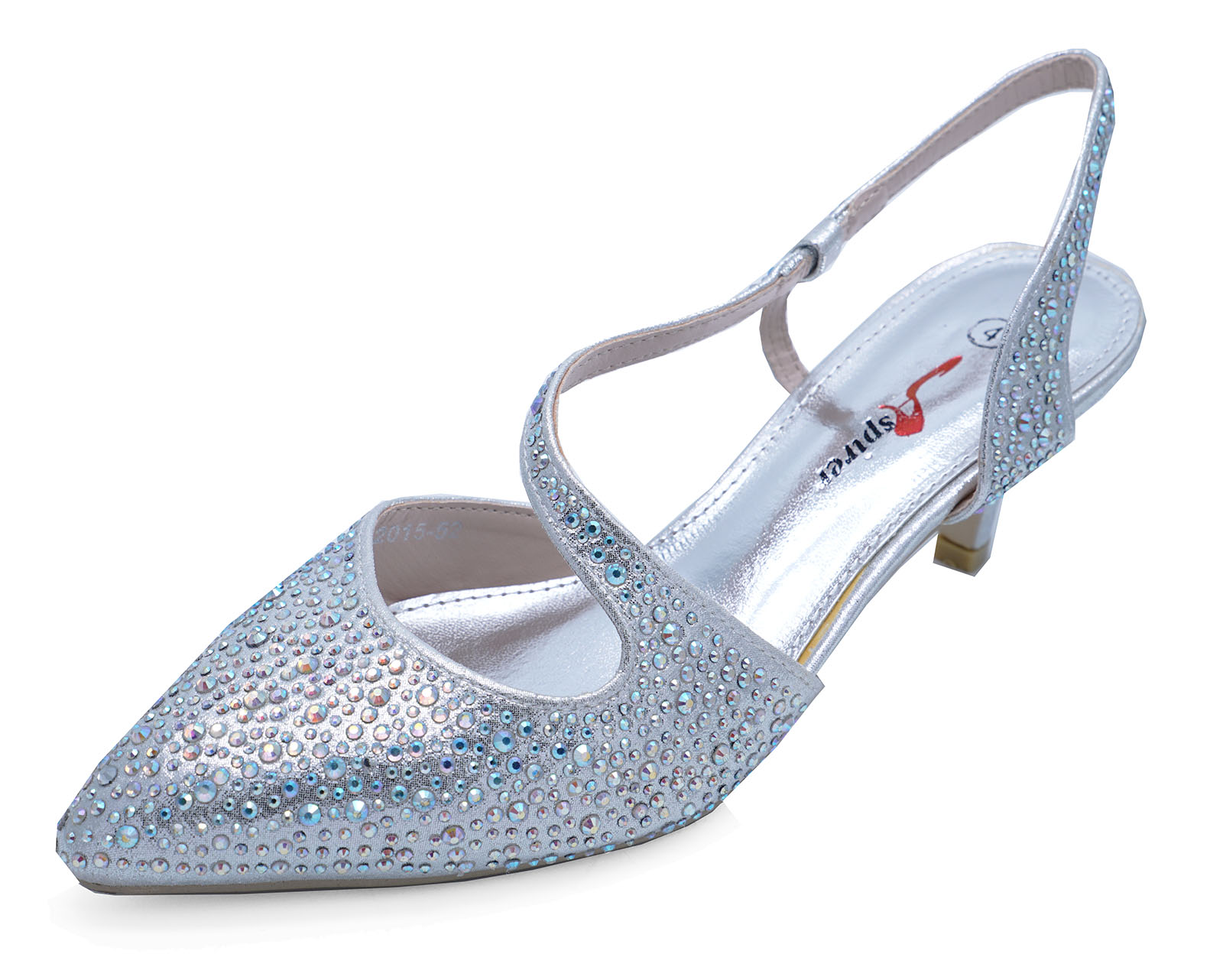 51546da82 ... Shoes Sizes 3 8. Womens Silver Low Heel Slingback Diamante Elegant Party  Evening