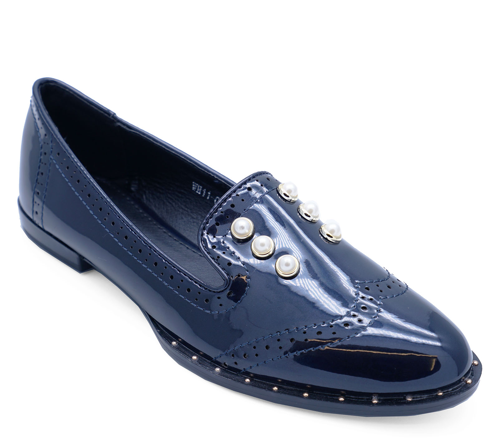 7d07aa9b679 Sentinel LADIES NAVY PATENT SLIP-ON FLAT LOAFERS SMART CASUAL COMFY WORK  SHOES SIZES 3-