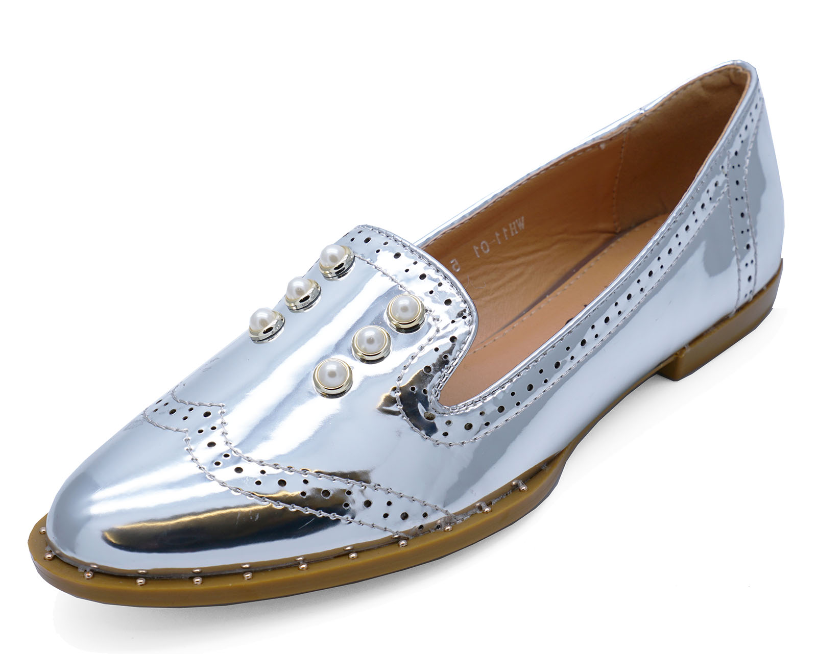 9cb817153c7e1 Ladies Slip Work Patent Silver Casual Flat På Comfy Smart Loafers TwrTPFqxA