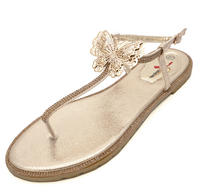 View Item LADIES GOLD T-BAR FLAT DIAMANTE FLIP-FLOP COMFY SUMMER SANDALS HOLIDAY SHOES 3-8