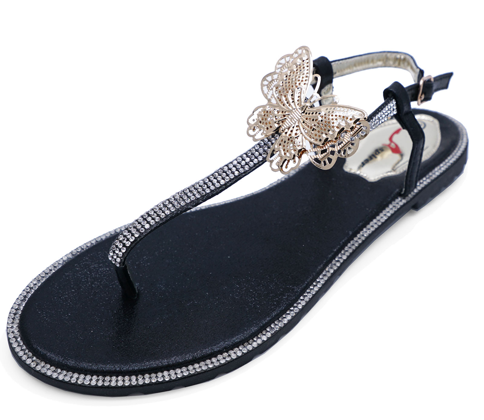 b2e4b26983ede Details about LADIES BLACK T-BAR FLAT DIAMANTE FLIP-FLOP COMFY SUMMER  SANDALS BEACH SHOES 3-8
