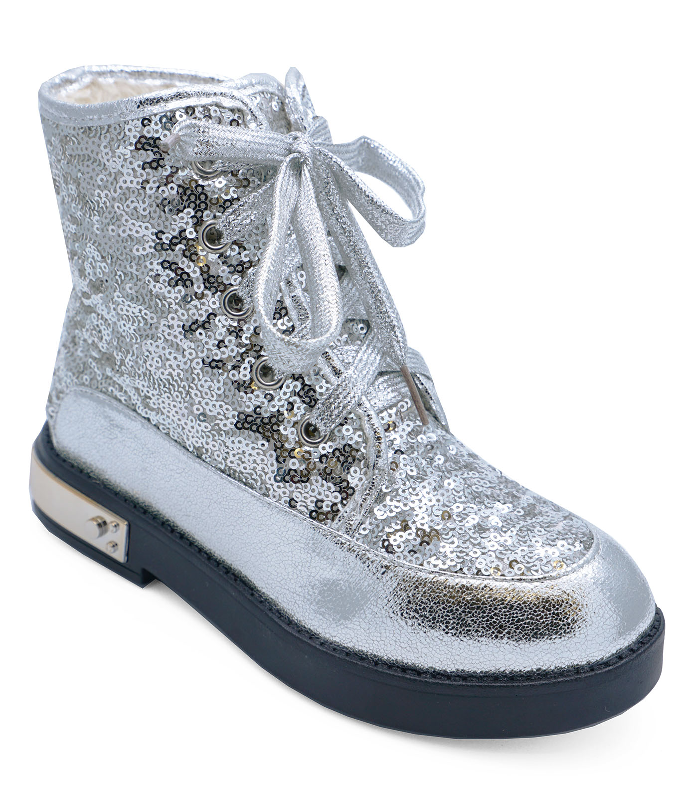 GIRLS KIDS SEQUIN DANCE SILVER LACE-UP ANKLE BOOTS JUNIOR
